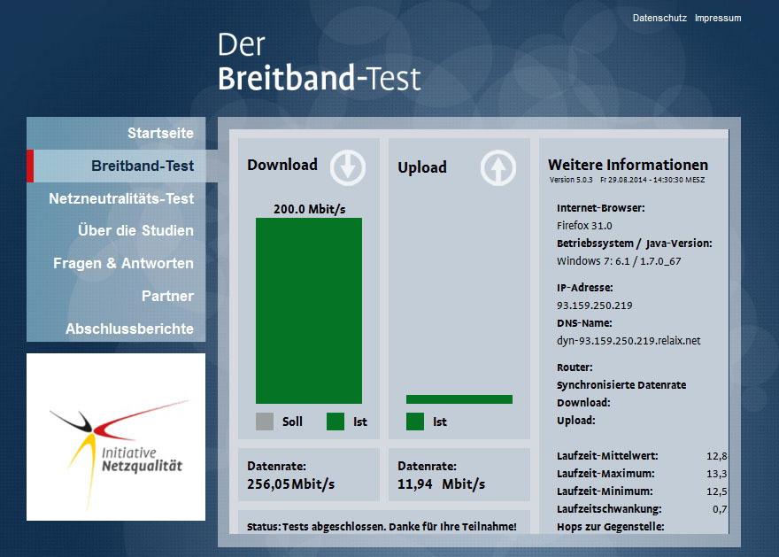 Speedtest FTTB-Ausbaugebiete RelAix
